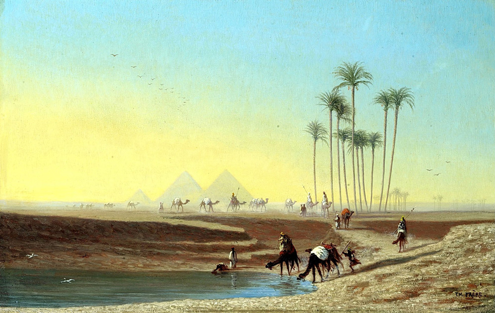The Pyramids of Giza. Morning (1890) - Ernst Karl Eugen Koerner (German, 1846-1927)