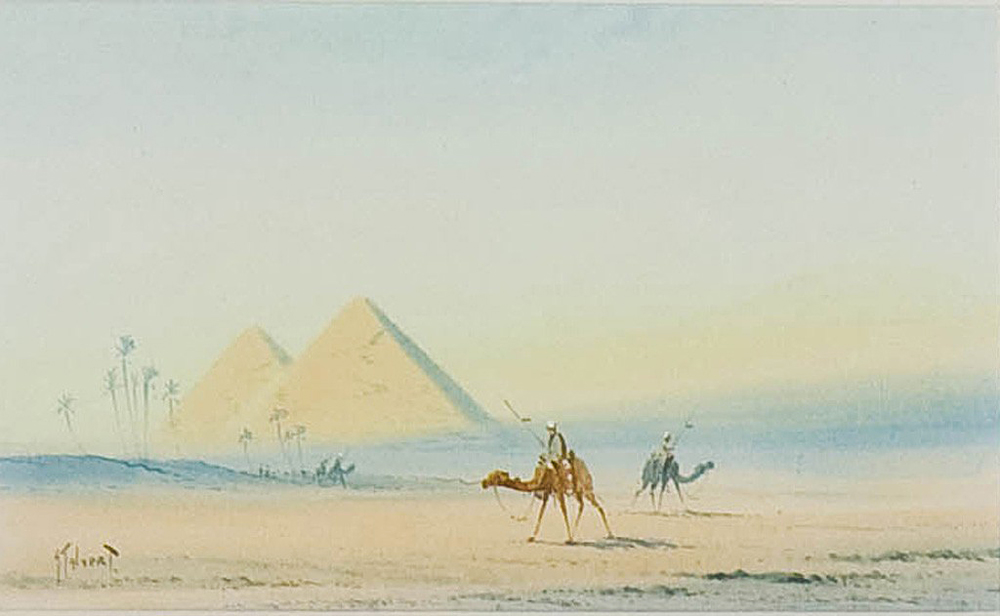 Landscape with Bedouins and Egyptian Pyramids - Otto Tilche (British, 1821-1894)