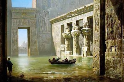 View inside the Temple of Philae (1910) - Ernst Karl Eugen Koerner (German, 1846-1927)