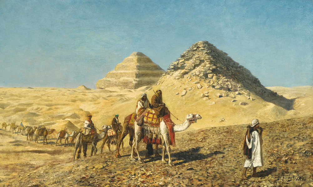 Camel Caravan amid the Pyramids, Egypt - Edwin Lord Weeks (American, 1849-1903)