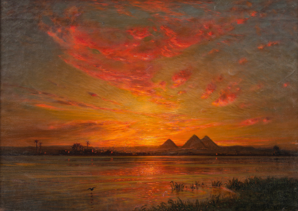 Sunset on the Nile (1906) - Ernst Karl Eugen Koerner (German, 1846-1927)