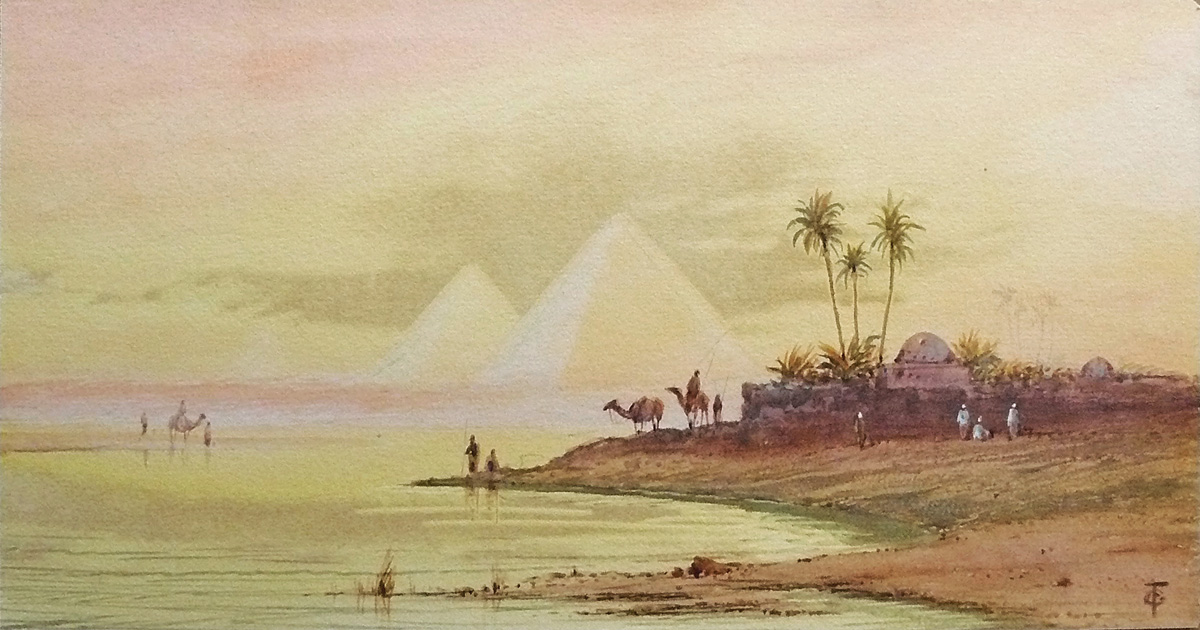 Egypt View with Pyramids - Otto Tiche (British, 1821-1894)