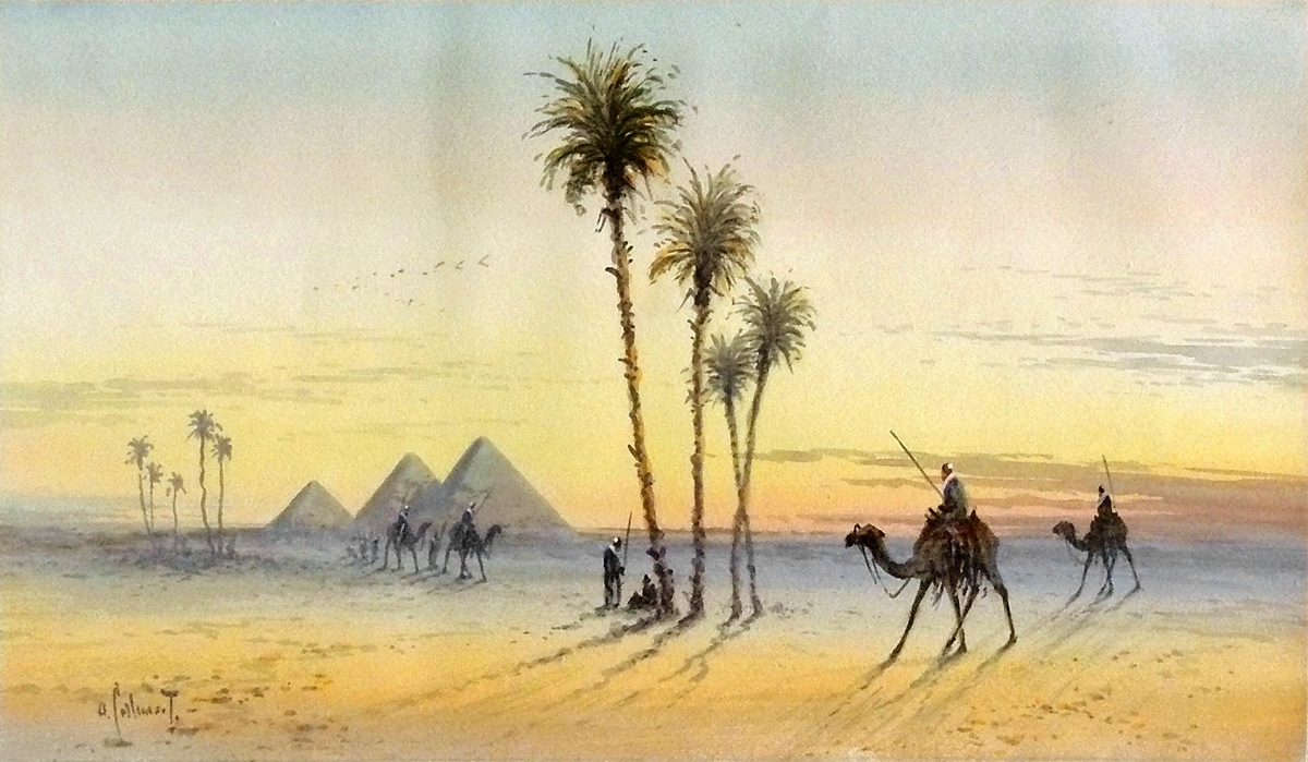 Arabs on Camels near the Pyramids - Otto Tilche (British, 1821-1894)