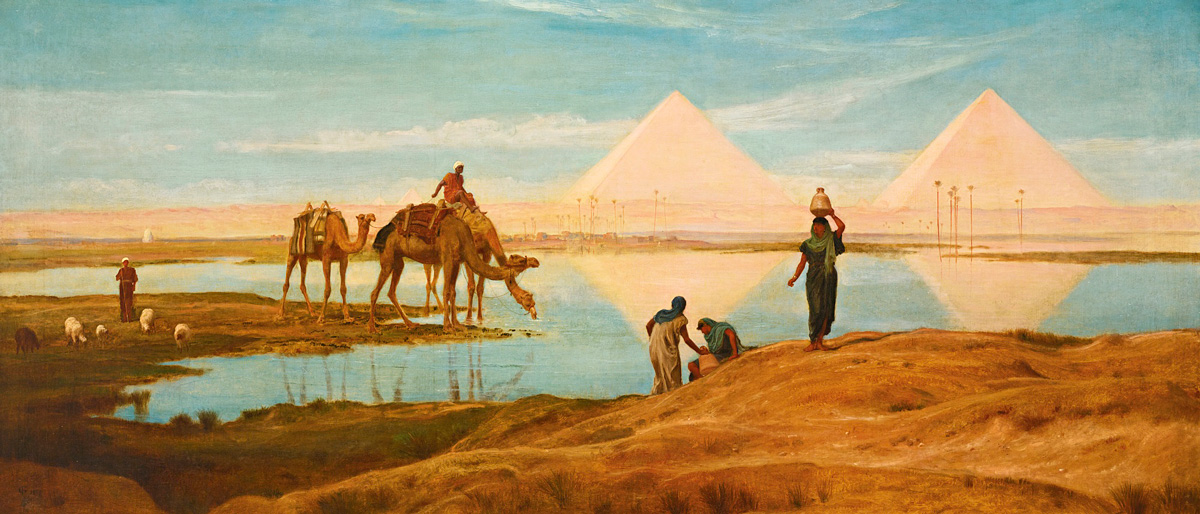 The Light of the Rising Sun upon the Pyramids of Ghizeh - Frederick Goodall (British, 1822-1904)