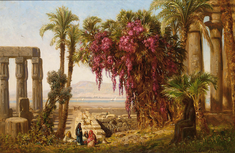 Arab Women resting near a Ruin (1908) - Ernst Karl Eugen Koerner (German, 1846-1927)