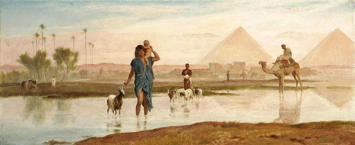 Crossing the Pool, Egypt (1899) - Frederick Goodall (British, 1822-1904)