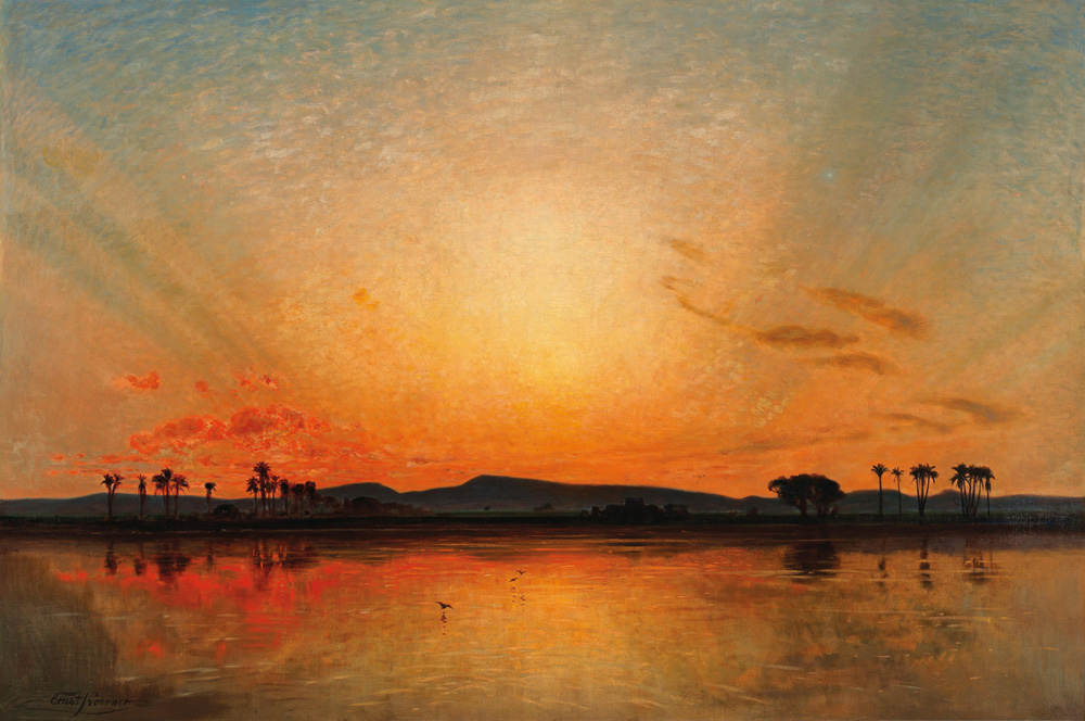 Afterglow in an Egyptian Sky - Ernst Karl Eugen Koerner (German, 1846-1927)