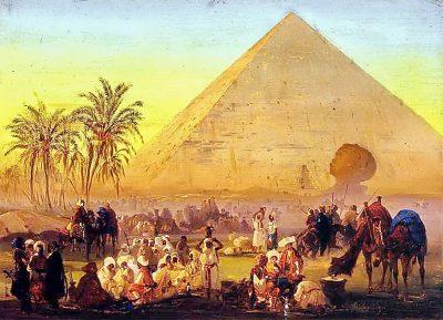 A Caravan, Pyramid and Sphinx - Ippolito Caffi (Italian, 1809-1866)