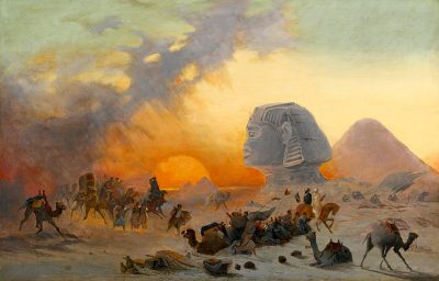 A Caravan fleeing from a Desert Simoom near the Sphinx - Ippolito Caffi (Italian, 1809-1866)