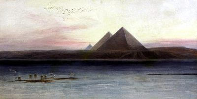 The Pyramids at Gizeh - Edward Lear (British, 1812-1888)