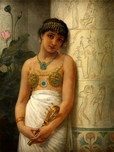 An Egyptian Girl with a Sistrum (1886) - Edwin Longsden Long (British, 1829-1891)