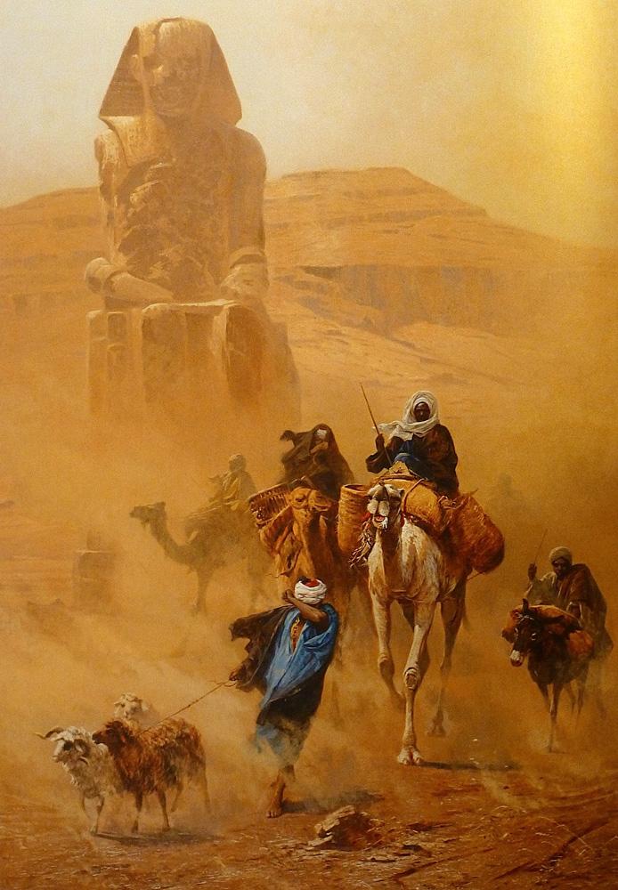 Bedouins in a Sandstorm (1891) - Ludwig Hans Fischer (Austrian, 1848-1915)