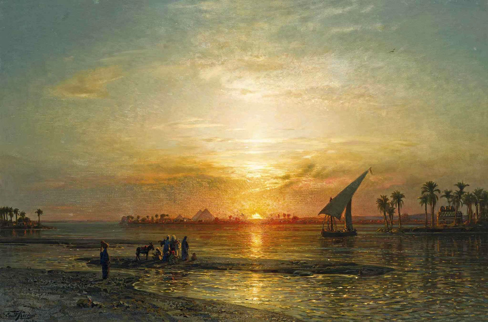 The Nile at Giza. Dusk (1899) - Ernst Karl Eugen Koerner (German, 1846-1927)