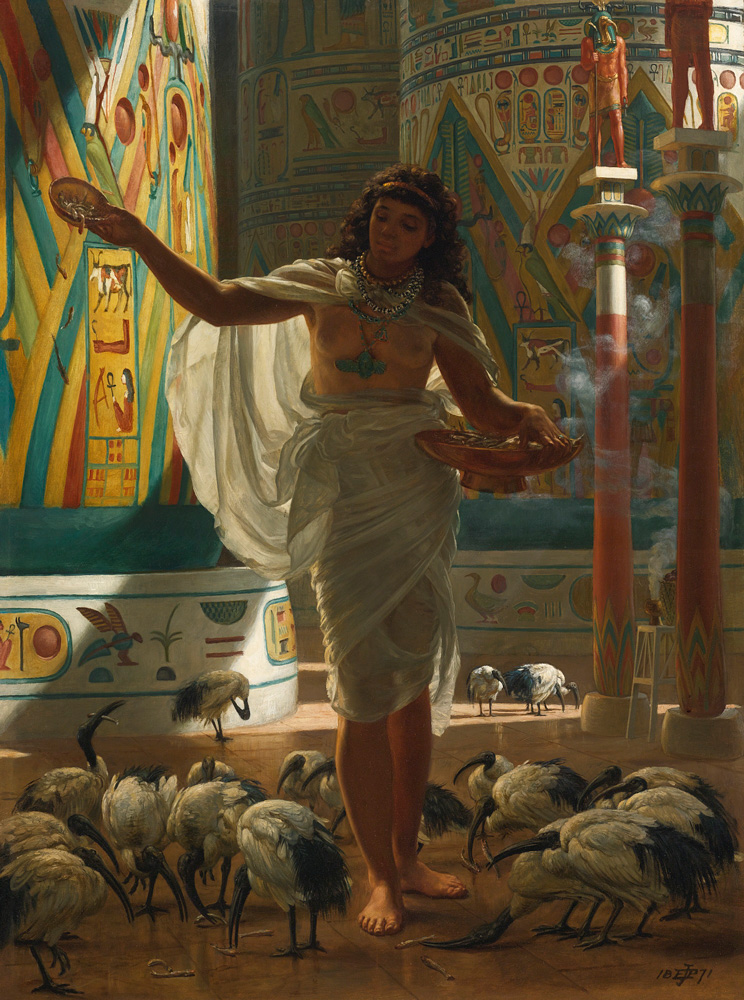 Feeding the Sacred Ibis in the Halls of Karnac - Sir Edward John Poynter (British, 1836-1919)
