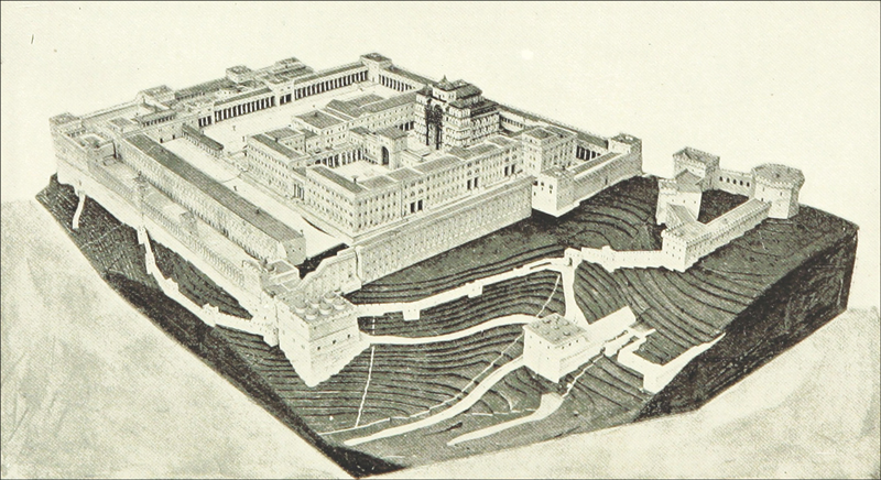 Artist's impression of Solomon's Temple in ancient Jerusalem before it was destroyed by Nebuchadnezzar II after the Siege of Jerusalem of 587 BCE